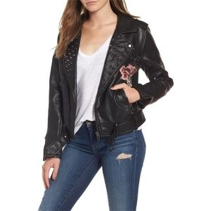 NWT Floral Printed Faux Leather Moto Jacket Vegan